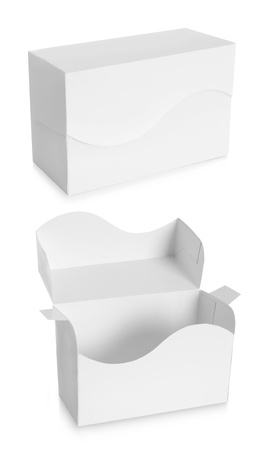 corrugated cardboard: white Package Box isolated over white background Stock Photo