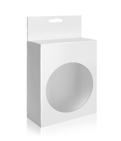 White Product Package Box With circle isolated over white background Stock Photo - 19282589