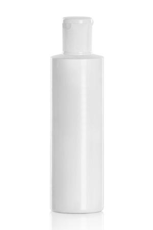 shampoo bottles: White plastic cosmetic bottle isolated on white Stock Photo