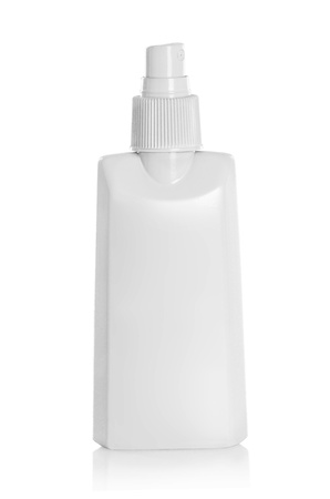 White container of spray bottle isolated over white background photo