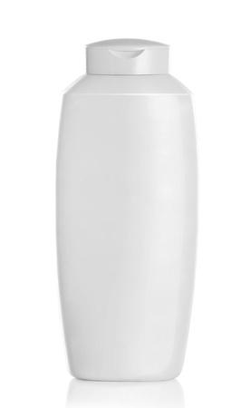champu: Gel, espuma, jabón líquido o cosméticos botella de plástico blanco sobre fondo blanco aisladas