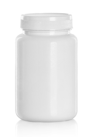 intimate: White Medical Drugs Tablets Capsules Plastic Bottle. Isolated over white background