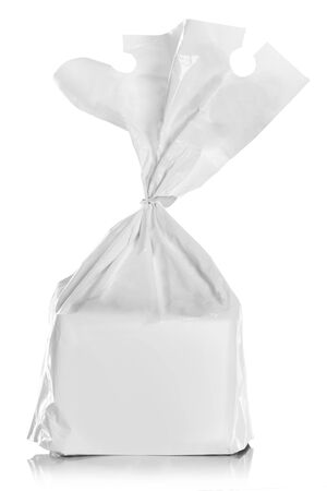 Bread package Isolated over white background photo