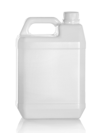 petrol can: White plastic jerry can isolated on a white background Stock Photo