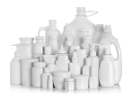 cleaning products: still life portrait of a group of product packaging. isolated over white