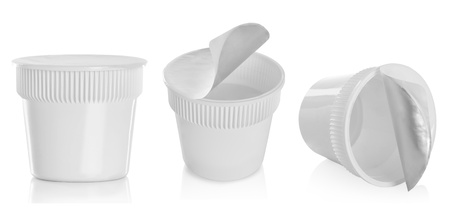 product packaging: Food plastic container , dessert, yogurt, ice-cream, sour cream, noodle isolated over white background