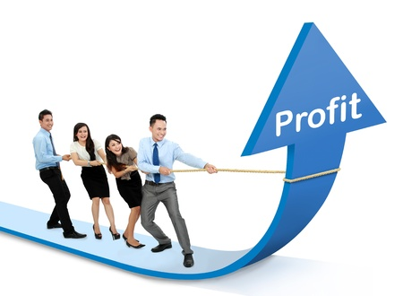 increase sales: portrait of business team pulling up bar using rope. growth profit chart concept