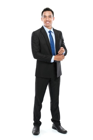 only 1 man: Young Asian business man isolated on white background.