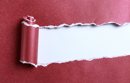 blank center: ripped red color paper over white background