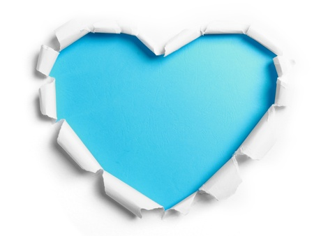 blank center: white torn paper with heart shape over blue background