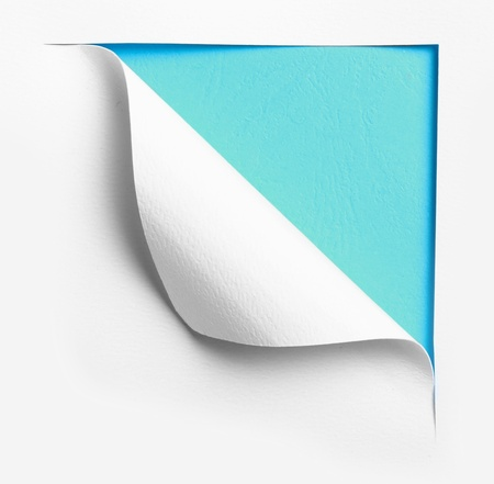 turn the corner: corner white torn paper with blue background, ready for your design