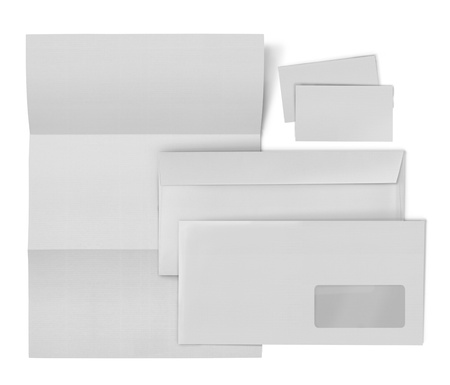 marca libros: sistema inmóvil negocios. sobre, hoja de papel y tarjeta de visita en el fondo blanco