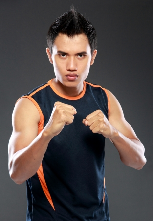 stance: young strength man man ready to fight
