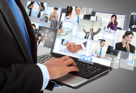 asian man laptop: close up of businessmans hand working with laptop in the office. conceptual image
