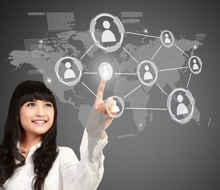 asian Businesswoman pressing button of social networking concept photo