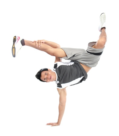 portrait of man jump and standing on one hand