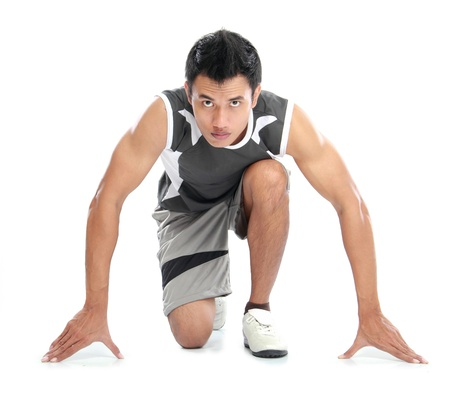 A view of a male athlete ready to run Stock Photo