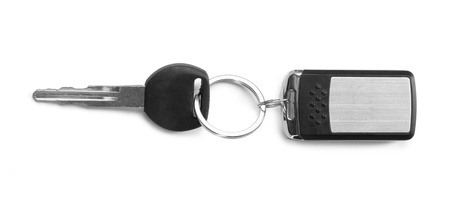 key in chain: remote car key isolated on white background