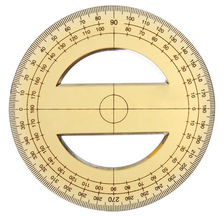 yellow transparent protractor on a white background