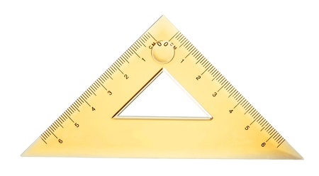 protractor: close up of a yellow ruller isolated on white background