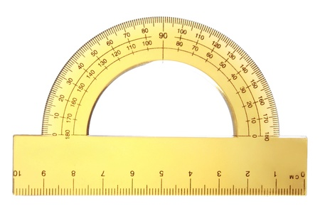 protractor: yellow transparent protractor on a white background