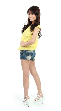 sexy teen girl: portraif of teenager girl in action and looking at camera Stock Photo