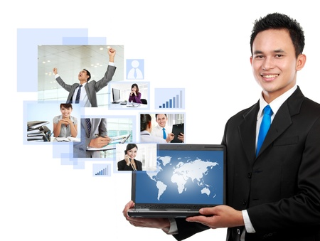 portrait of asian Businessman with his global network team