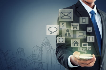 첨단 기술 배경에 현대 통신 기술 휴대 전화 개념