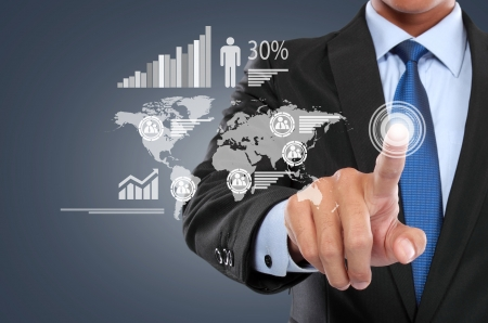 portrait of Businessman working with digital virtual screen Stock Photo