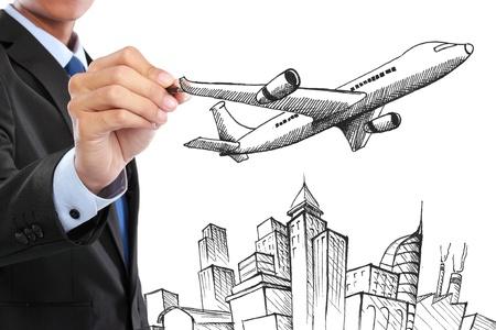portrait of businessman drawing business travel concept