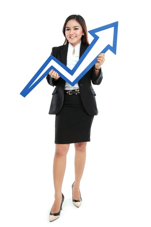 Portrait of full lenght beautiful woman holding chart arrow sign isolated over white background photo