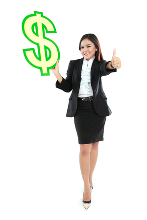 full lenght: Portrait of full lenght beautiful business woman holding a US dollar symbol  and thumbs up Stock Photo