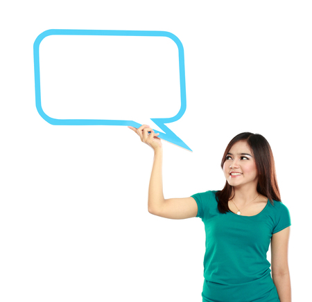 Portrait of young girl holding blank text bubble in specs  Stock Photo