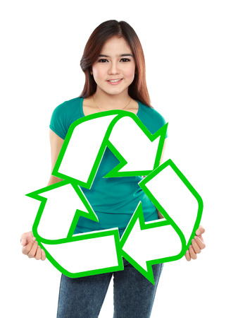 Asian young woman holding recycle sign  photo