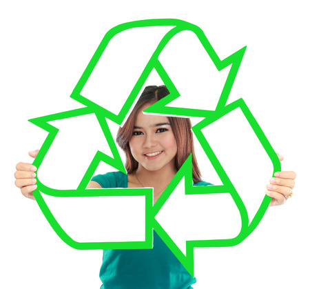 social awareness symbol: Asian young woman holding recycle sign  Stock Photo