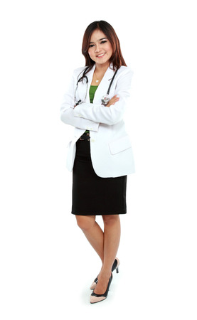 full lenght: Portrait of full lenght female young doctor standing with folded arms