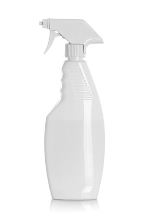 detergent bottles or chemical cleaning supplies isolated on white photo