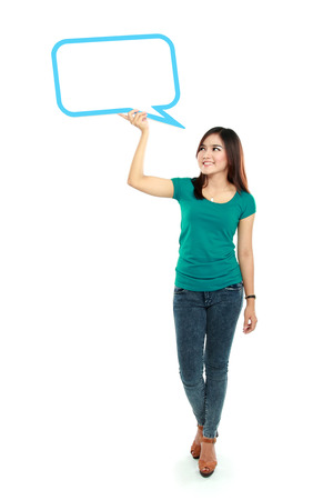 full lenght: Portrait of full lenght young girl holding blank text bubble in specs  Stock Photo