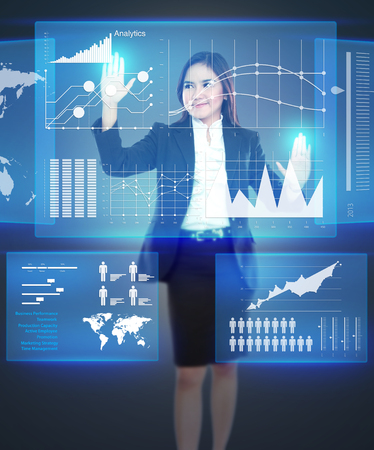 portable information device: Picture of businesswoman working with touch screen