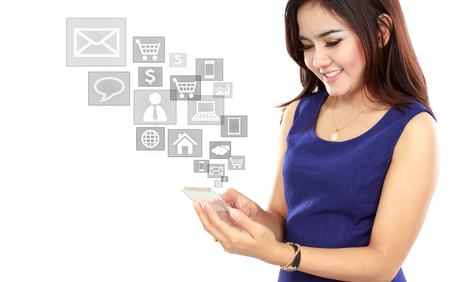 Portrait woman using mobile phone, text messaging, social media, on mobile phone Stock Photo - 22535529