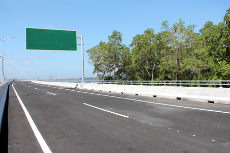 information highway: blank billboard or road sign on the highway