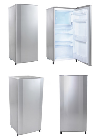 collection of single door refrigerator isolated over white background photo