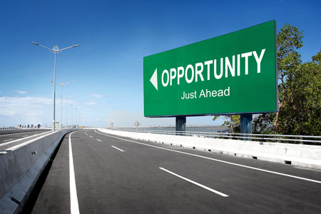 road to success: road with sign of opportunity. conceptual image