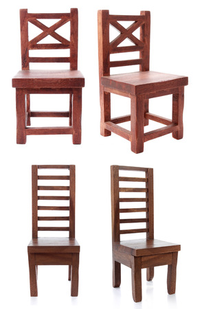 collection of antique wooden chair isolated over white background Stock Photo - 23411778