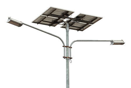 solar powered street light over white background photo
