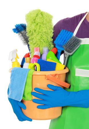 servicio domestico: Retrato de equipo de limpieza aislados sobre fondo blanco