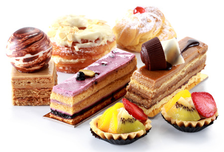 fancy cake: collection of various cakes on white  Stock Photo