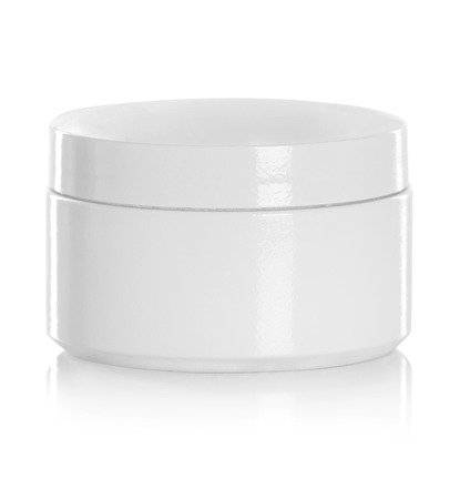 product packaging: jar or blank packaging for cosmetic product with cap isolated in white