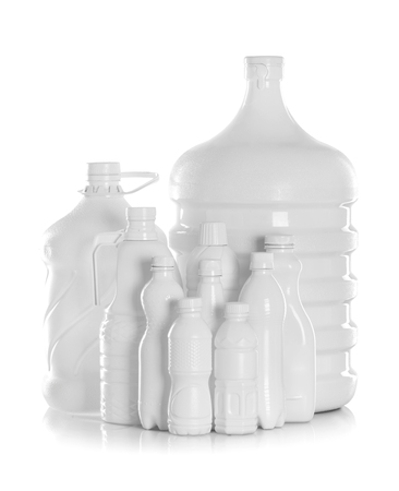 gallon: group bottle of water packaging isolated on a white