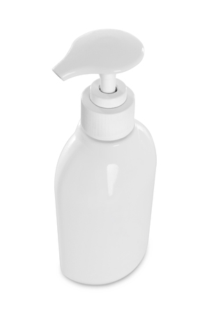 Gel, Foam Or Liquid Soap Dispenser Pump Plastic Bottle White on a white with reflection photo